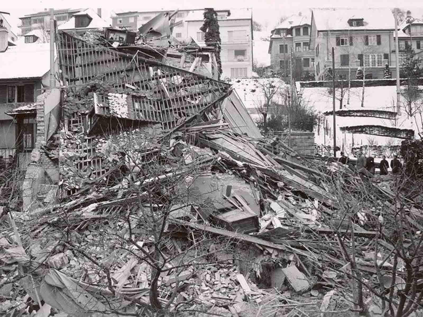 Eine fehlgeleitete Bombe im Zweiten Weltkrieg zerstörte das Haus an der Limmattalstrasse 23.