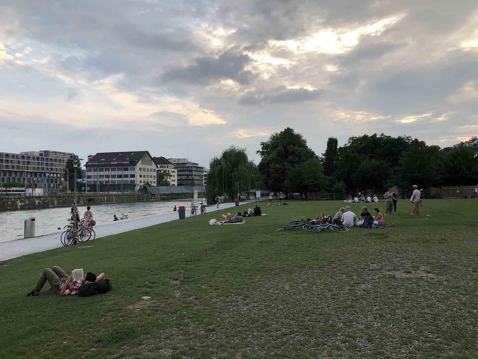 Sommerliche Abendstimmung im Wipkingerpark, eine Idylle, die allerdings durch die Emissionen und Folgen von Einweg-Grills gestört wird. Es gäbe Alternativen.