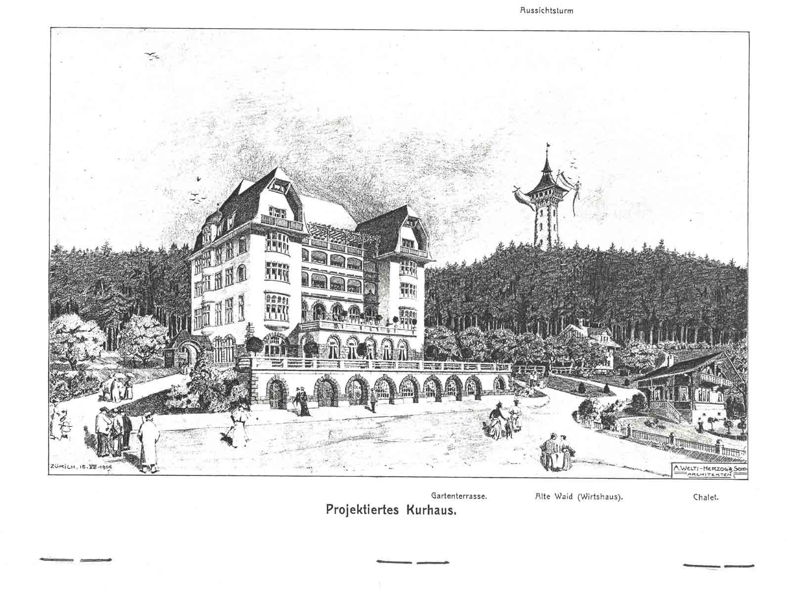 1906 geplant, nie realisiert: Ein Kurhaus auf der Waid, vier Stockwerke hoch, mit Terrasse und Balkonen. Hinten rechts der 50 Meter hohe Aussichtsturm mit Elevator.
