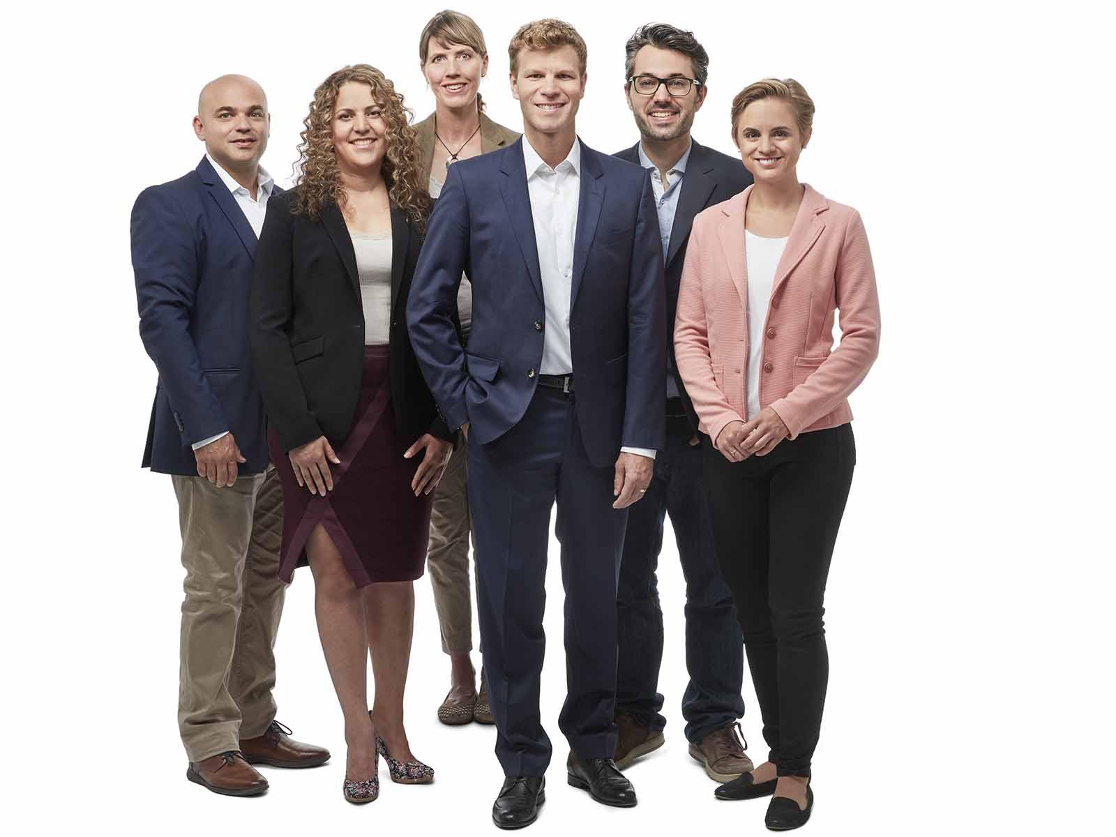 Die Top-Kandidaten der glp 6/10 Kantonsratsliste von links nach rechts: Ronny Siev, Daniela Güller, Simone Hofer, Danny Häuptli (bisher), Manuel Frick und Florine Angele.