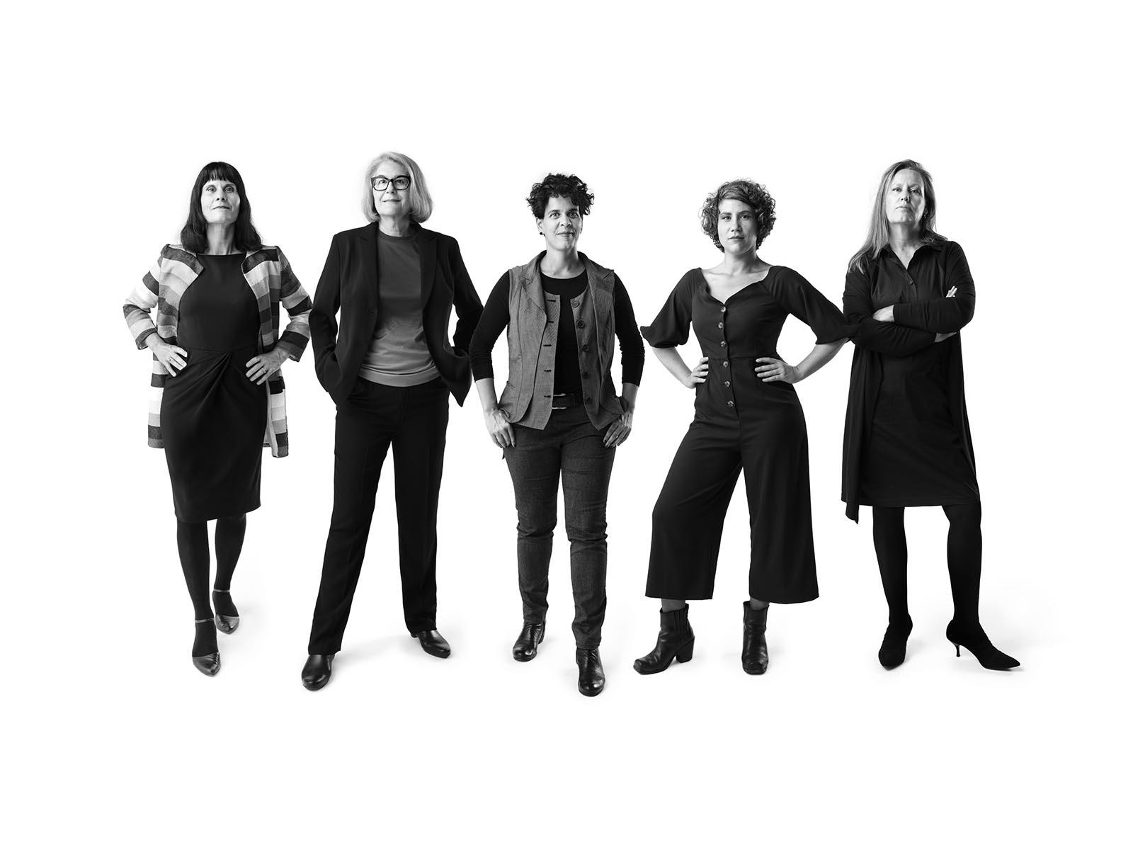 Die Spitzenkandidatinnen von links nach rechts: Katharina Gander, Manuela Schiller, Rahel El-Maawi, Laura Huonker und Elvira Wiegers.