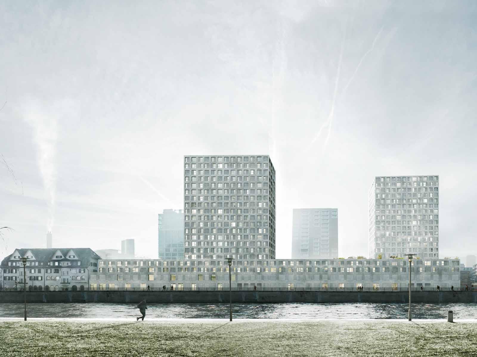 Vorgesehen ist ein Gebäudekomplex mit zwei Hochhäusern entlang der Limmat.