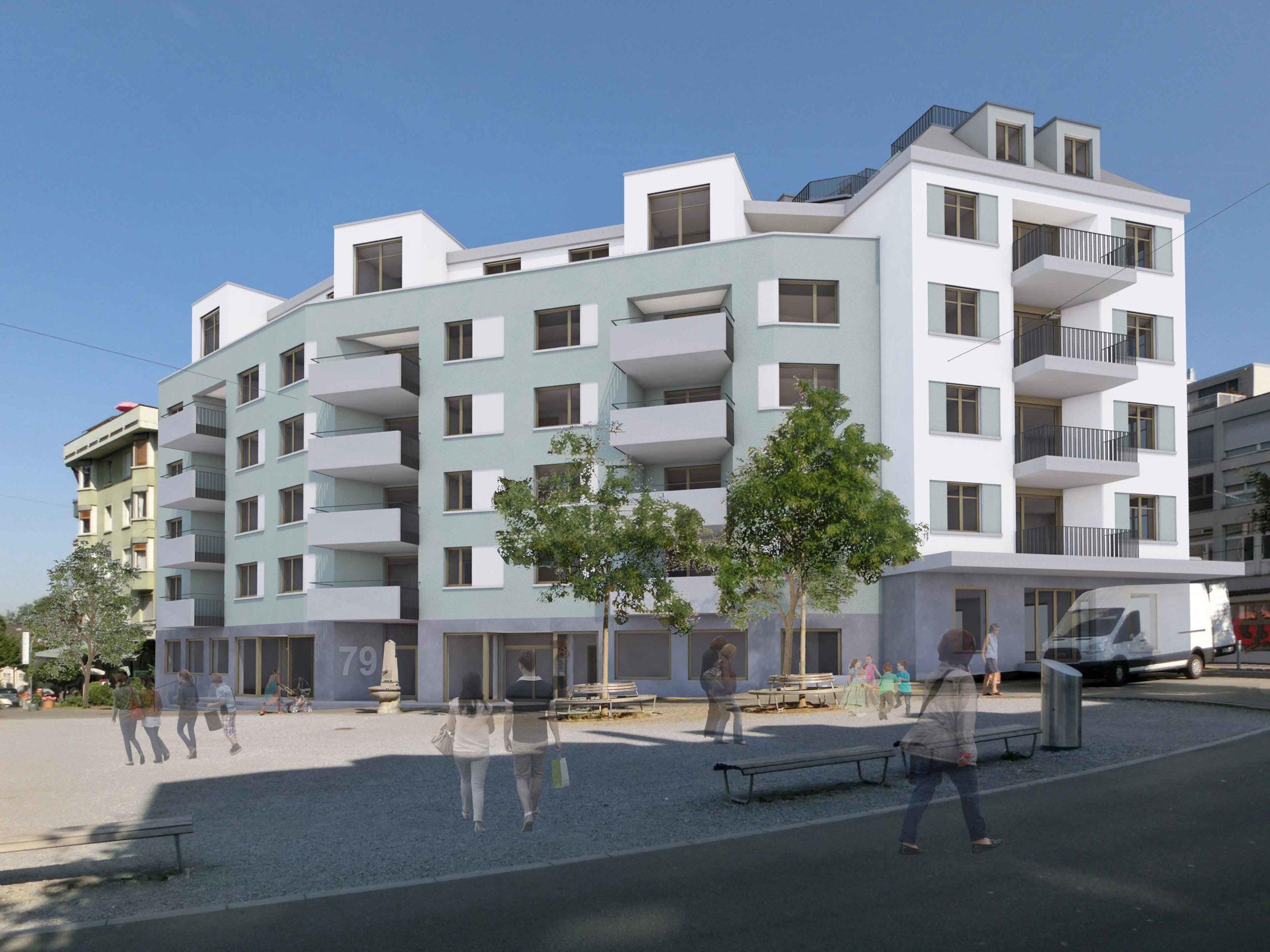 So könnte das neue Gebäude am Röschibachplatz dereinst aussehen