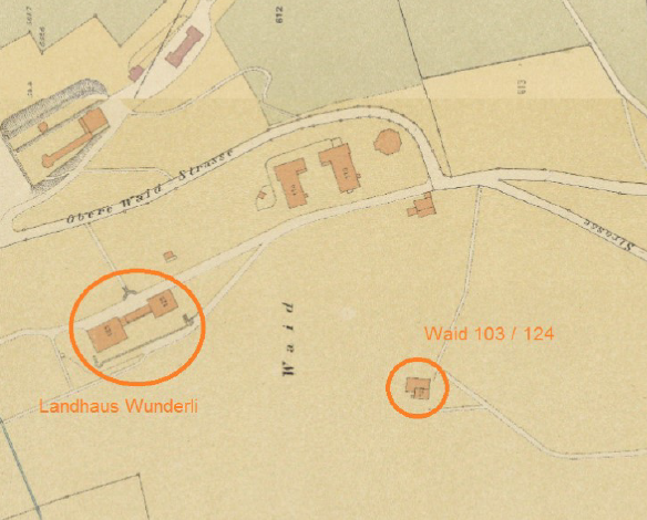 Links das Landhaus Wunderli, rechts eingekreist die Häuser Waid Nr. 103 und 104.