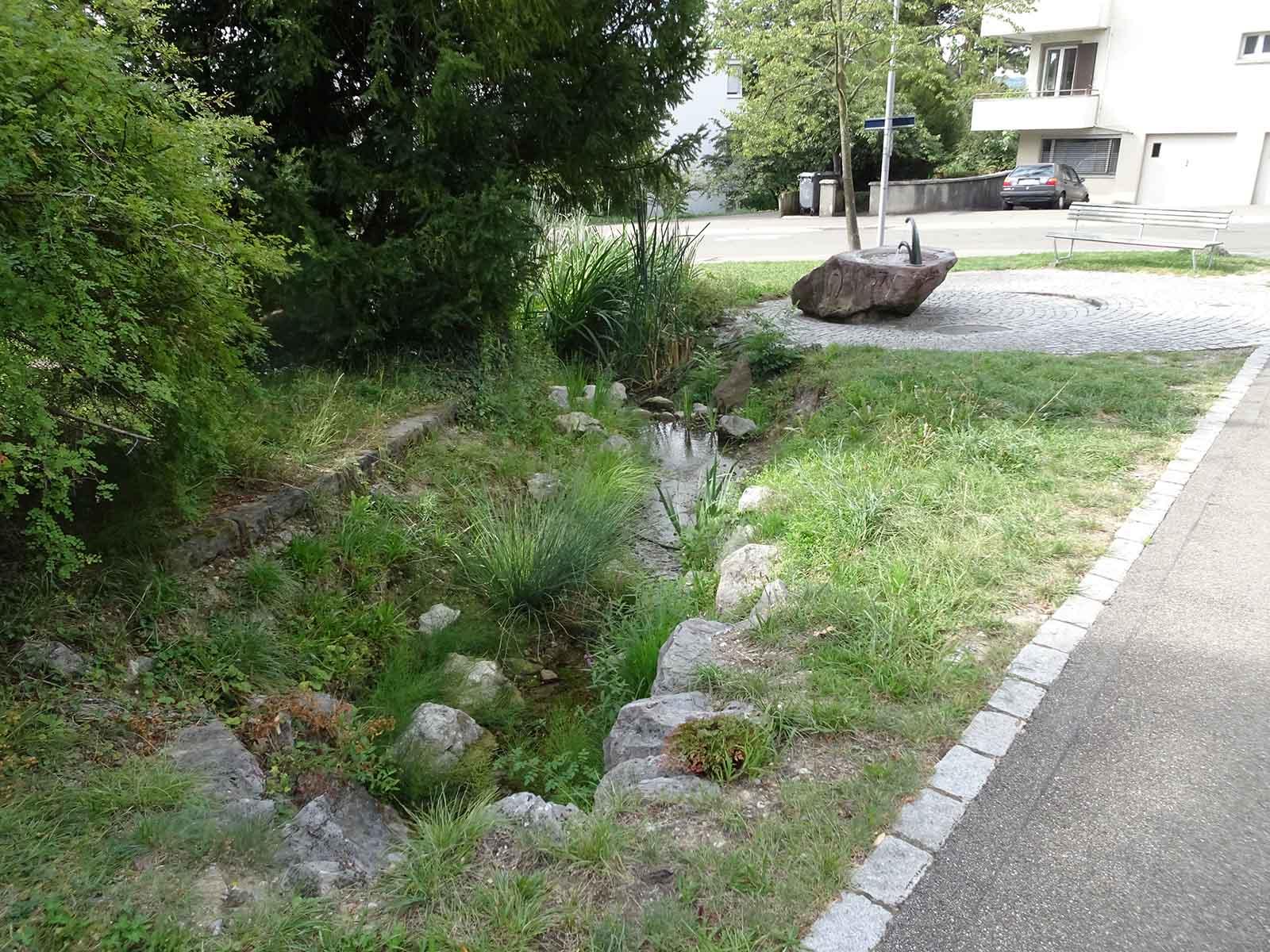 Ungefähr an dieser Stelle, bevor der Waidfussweg in die Wunderlistrasse einmündet, floss auch der ursprüngliche Oerisbac