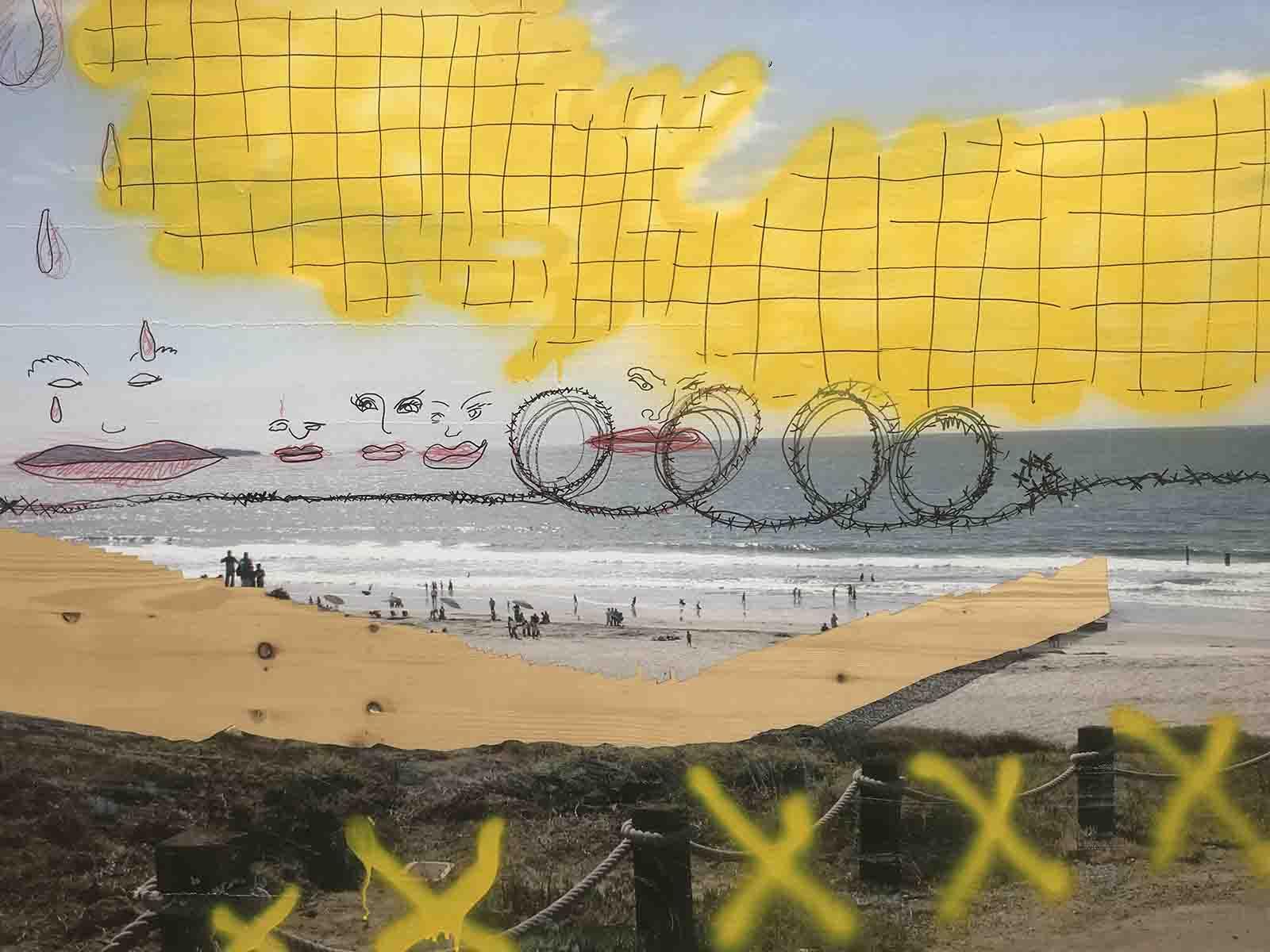 Eine harmlose Strandszene wird vom Schrecken heimgesucht – nicht nur auf einem Bild, sondern auch in der Realität.